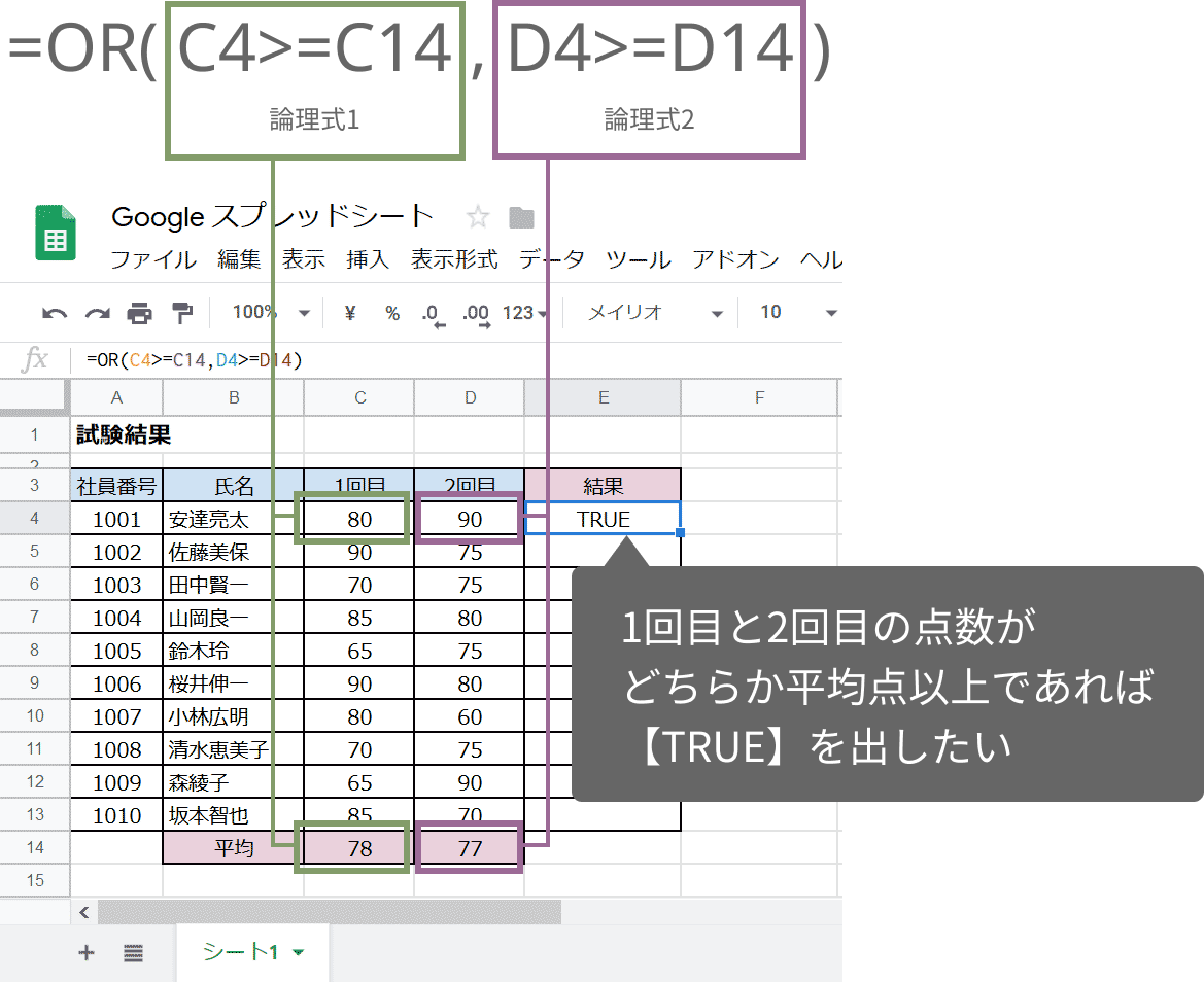 OR関数の使い方(完成例)
