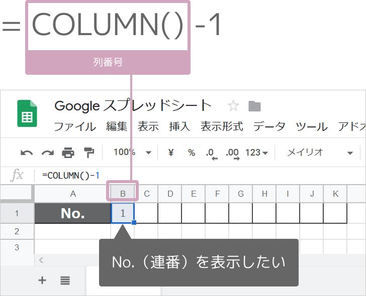 スプレッドシートのCOLUMN関数の使い方