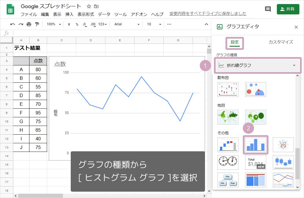 ヒストグラム(グラフの選択)
