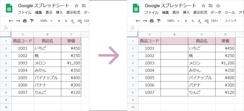 列の追加、挿入(完成図)