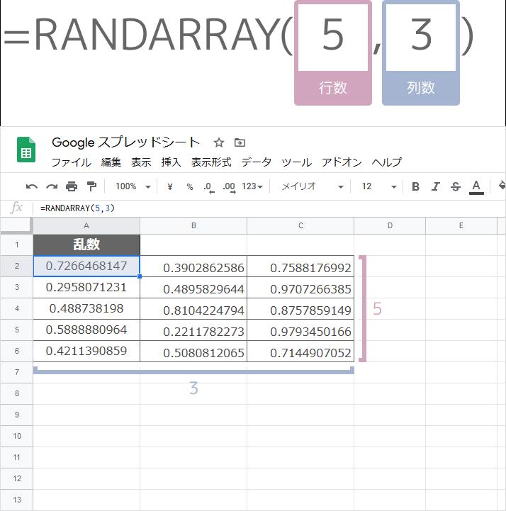 RANDARRAY関数の使い方