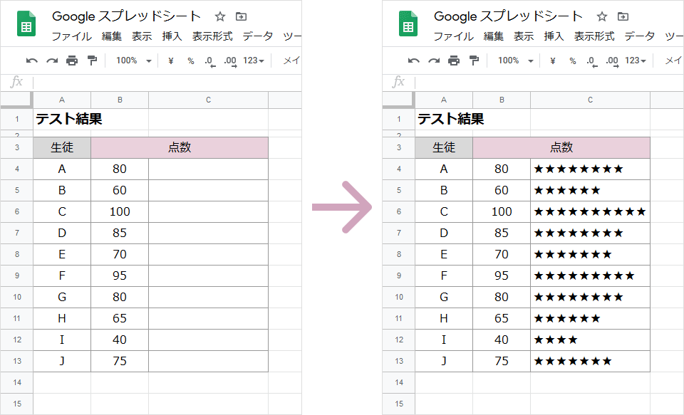 REPT関数の使い方(完成例)