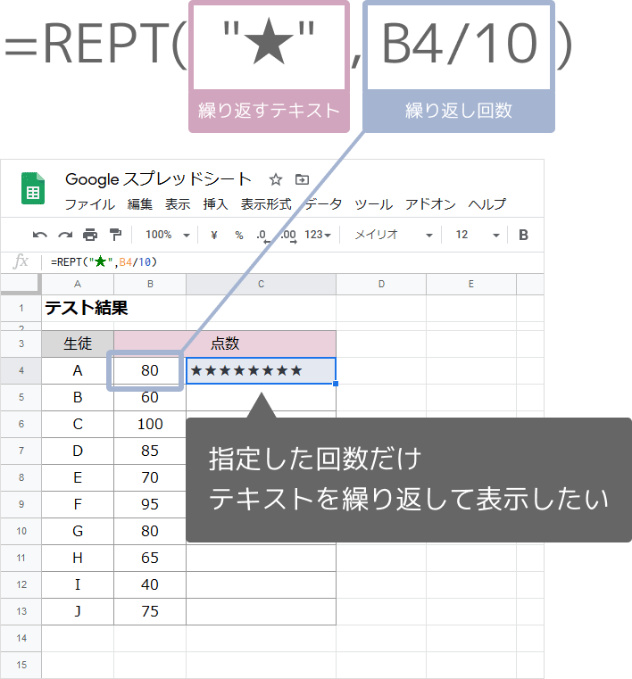 REPT関数の使い方