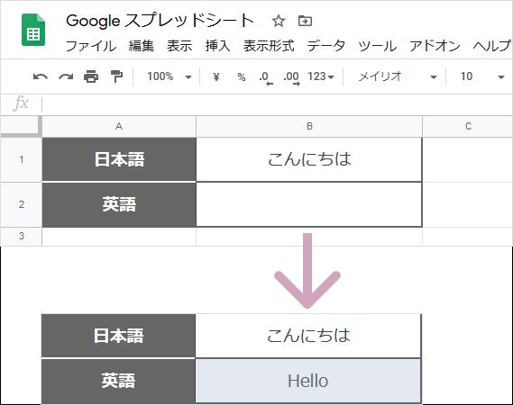 GoogleTranslate関数(完成例)