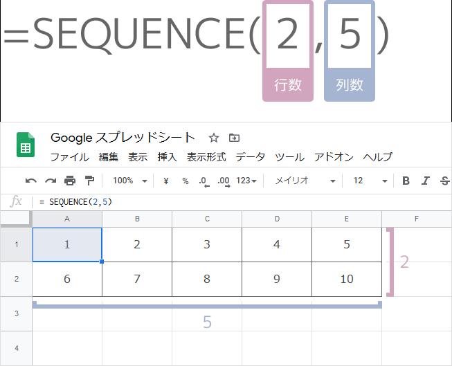 SEQUENCE関数の使い方(複数範囲に連番)