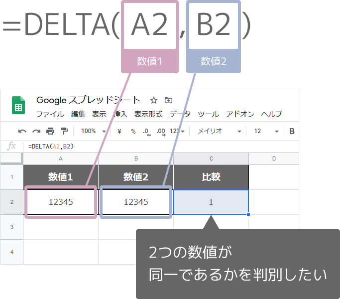 DELTA関数の使い方