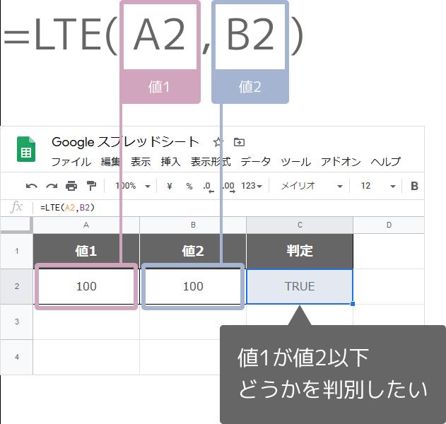 LTE関数の使い方