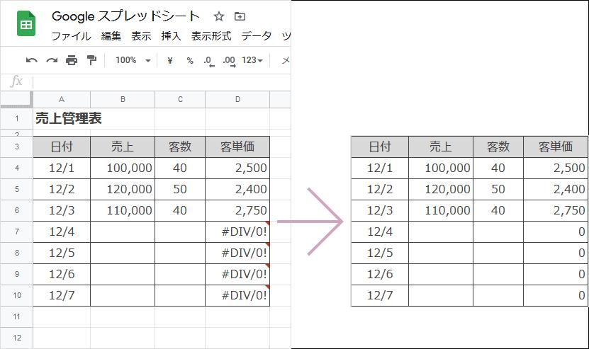 IFERROR関数の使い方(完成例)