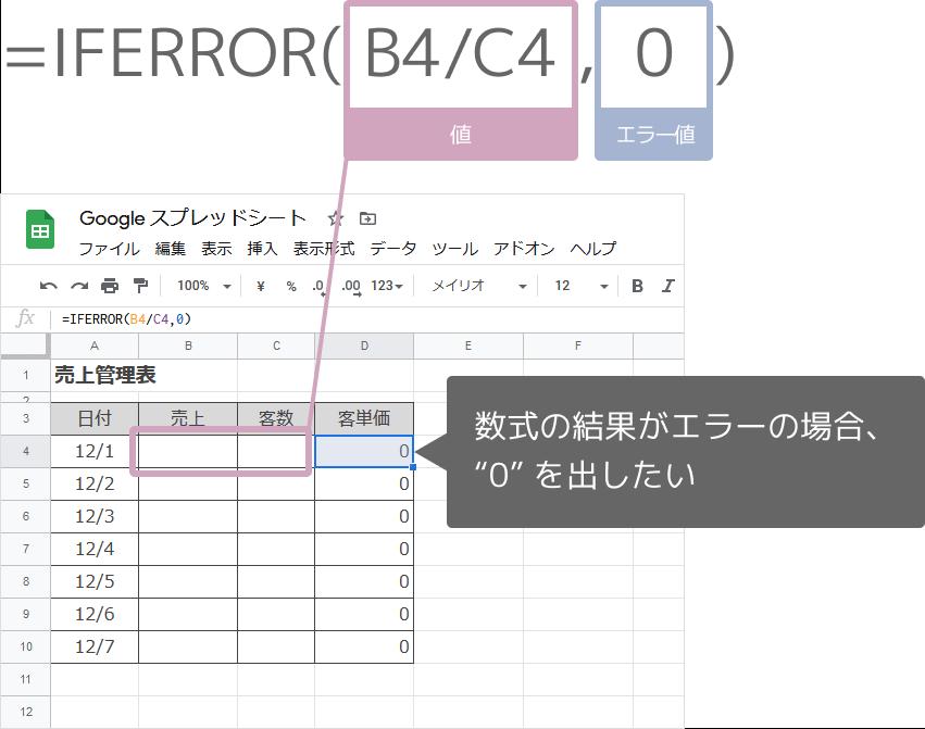 IFERROR関数の数式の入れ方(0を表示)