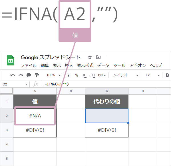 IFNA関数の数式の入れ方(N/Aエラーなら空欄にする)