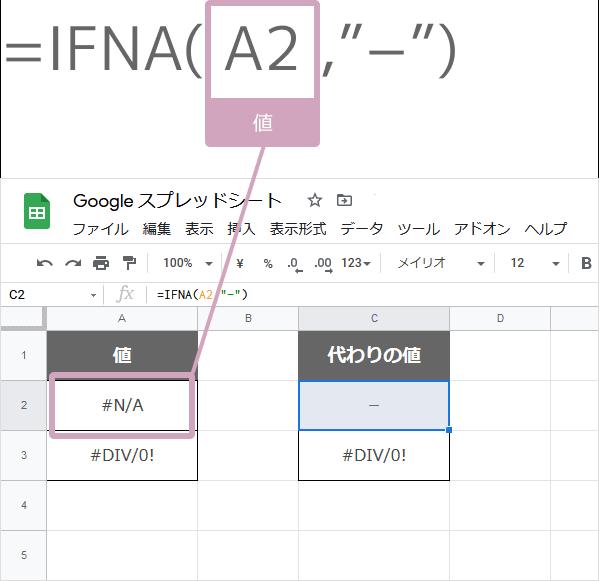 IFNA関数の数式の入れ方(N/Aエラーなら-を表示)