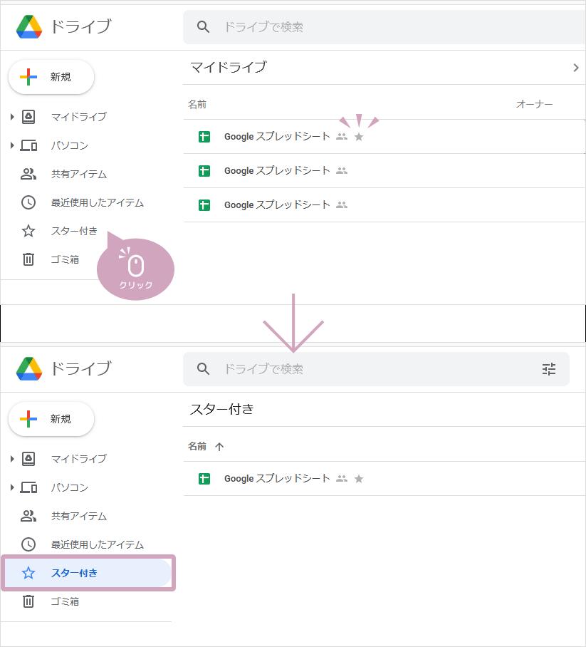 Googleドライブでスター付きを表示