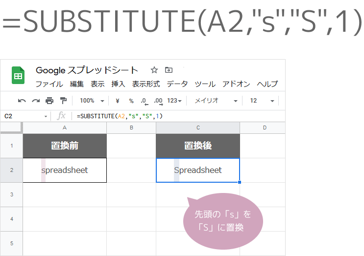 SUBSTITUTE関数(出現回数1)