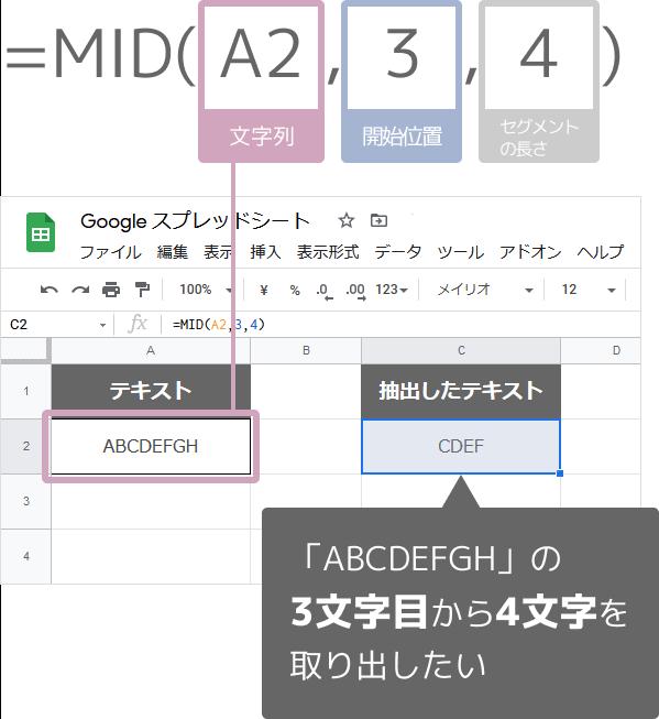 MID関数の数式の入れ方